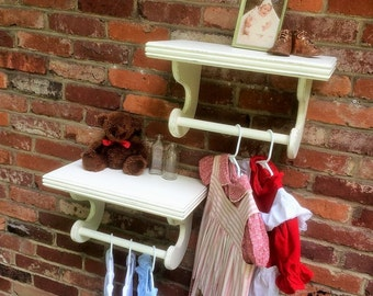"""Nursery shelf, Wall decor, Antique White Distressed shelf with dowel rod, 18""""x10"""" deep (pictured), Wall shelves for Hanging, Select options"""