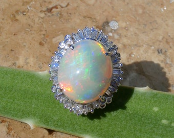 Opal and Diamond Ring, Opal Statement Ring, Ethiopian WELO Opal, 14kt. Size 7