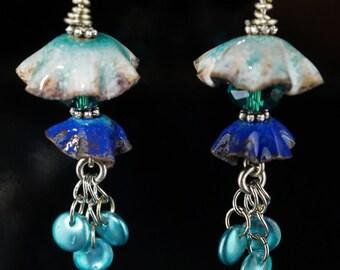 Fairy Bell Earrings, Fairy style, enameled copper earrings,  womens earthy earrings, enameled earrings, OOAK copper earrings, boho earrings