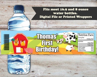 Farm Water Bottle Labels, Farm Water Bottle Wrappers, Farm Animals Birthday Party Favors, Farm Animals Birthday Party, Farm Water Labels