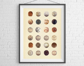 History of the Baseball - Baseballs from all Eras - Baseball Art - Baseball Wall Art - Art Print
