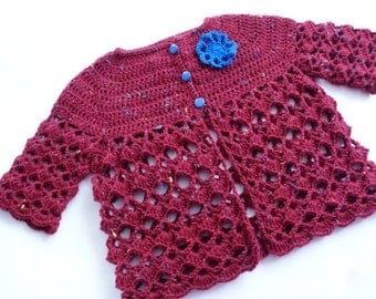 Infant girls sweater, crochet baby sweater, maroon sweater for baby girl, multicolored baby sweater