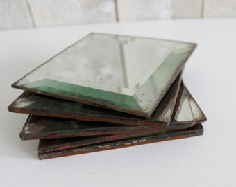 Mirror tiles. French antique mirror tiles. Beveled antiqued mirror Hand-Silvered Tile. Square mirror. Set of 5. // D272