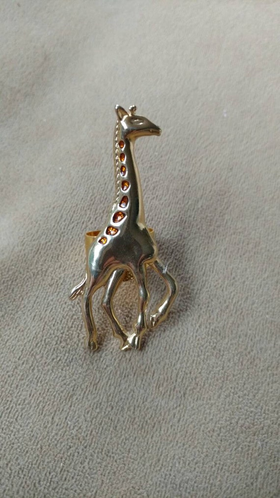 giraffe adjustable ring upcycled jewelry animal lover
