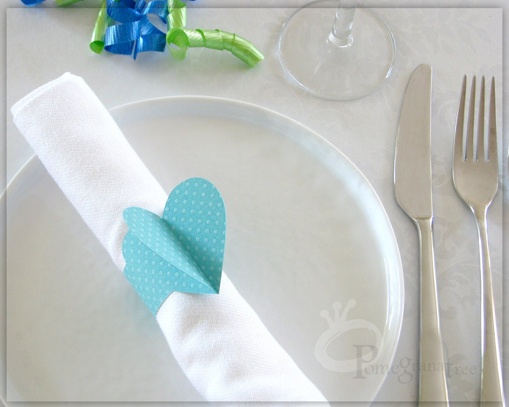 heart paper napkin rings sweet 16 party decoration. Black Bedroom Furniture Sets. Home Design Ideas