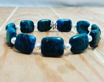 Square chrysocolla and swarovski pearl bracelet-chrysocolla bracelet-chrysocolla jewelry-blue green stone-semi precious-bracelets