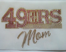 Rhinestone California 49ers mom gold rush football NFL sports  Sparkly bling hot fix iron on DIY heat applique