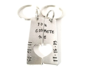 You Complete Me Keychain Set - Anniversary Gift - His and Hers Gifts - Wedding Gift - Heart Keychain -  Valentine's Day -
