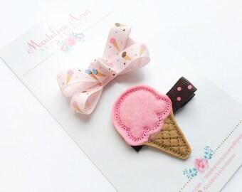 Ice Cream Hair Clips, Ice Cream Feltie Clip, Baby Hair Bows, Girls Hair Bows, Toddler Hair Bows, Peach Fuzz Wisp Clip