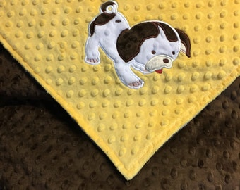 Personalized Minky Baby Blanket Brown with Yellow Minky, Puppy Blanket, Monogrammed Blanket