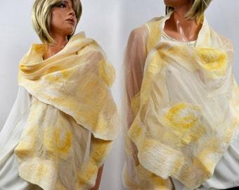 Nuno felted shawl, scarf, scarves, silk merino wool, handmade, unique, Organic fashion, Eco