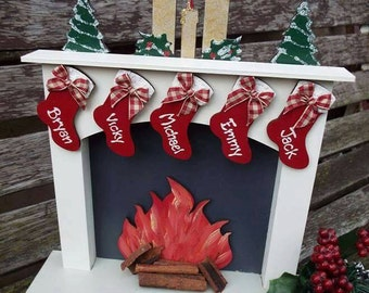 HANDPAINTED CHRISTMAS FIREPLACE sets - Personalised, Pre-order - Please allow up to four weeks for delivery