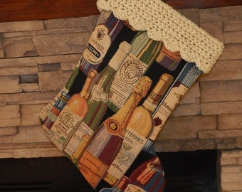 "FINAL MARKDOWN - Clearance - 22"" Handmade Wine Bottle Christmas Stocking with 100% Handspun wool cuff"