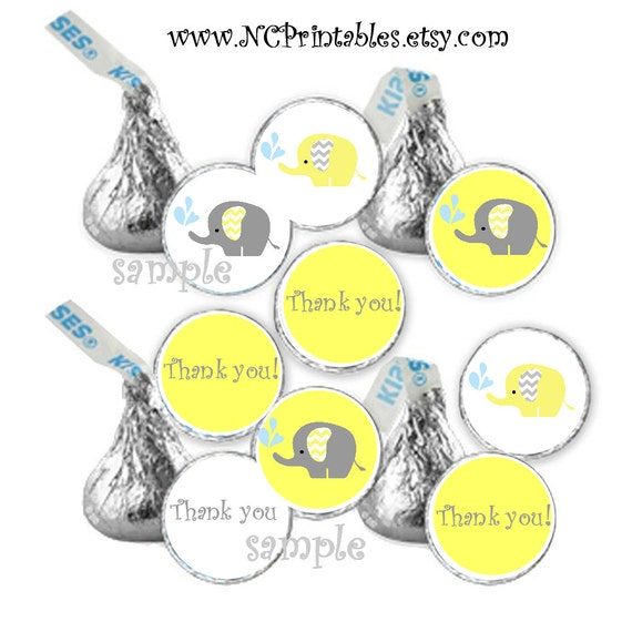 Elephant Yellow Baby Thank You  shower favors gift  candy stickers (108)