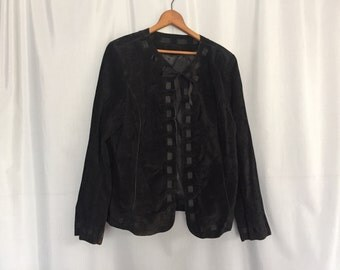 Black Suede Jacket Vintage Ribbon Laced Bow Tie Women's size Medium or Large