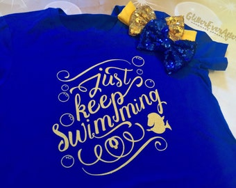 Just Keep Swimming Glitter Shirt, Tote, Hoodie - Many Styles to Choose From - Baby, Infant, Toddlers, Girls, Women, Men, Unisex