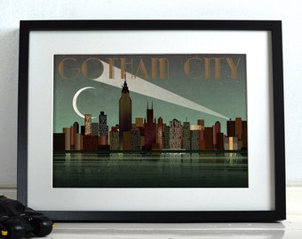 Gotham City's Batman Comic Book  Superhero New York City Poster Wall Art Hanging Print Home Décor