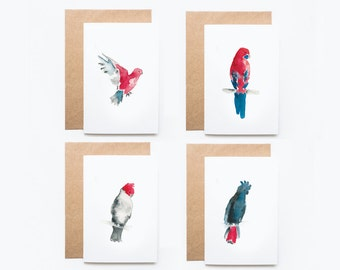 Australian Birds Watercolour: Blank Greeting Card, Set of 4