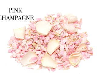 Natural wedding confetti petals, 1 litre, 100% Biodegradable (Pink Champagne)