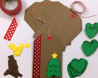 DIY Holiday Christmas Gift Tag Kit (Makes 12)