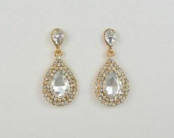 Gold Tone Teardrop Earrings, Crystal Stud Earrings