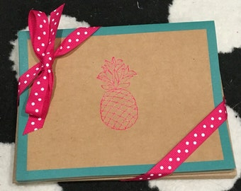 Pink pineapple notecards
