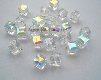 100pcs White AB Color 6mm Square Cube Crystal Beads,Loose Jewelry Spacer Faceted Beads 19 Color Pick