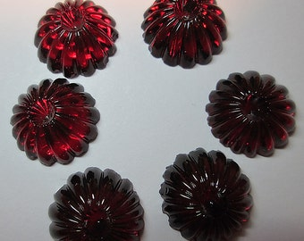 6 Vintage Deep Red Glass Cabochons