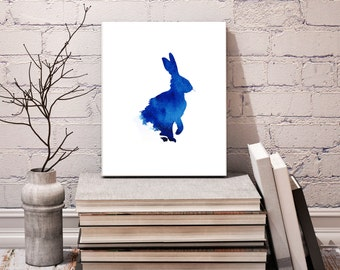 Hare Print, Hare Art Print, Hare Art, Watercolor Rabbit, Wildlife Prints, Abstract Wall Art, Abstract Watercolour, Boyfriend Gift, Inky Blue