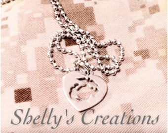 Marine corps EGA charm necklace 3d rhodium or heart cut out designs.