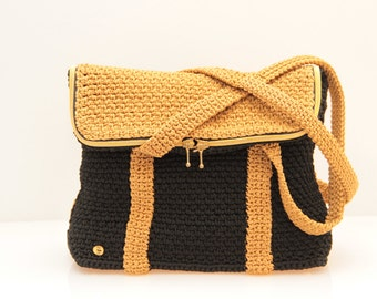 Color block black Hobo bag ochre