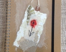 Hardback ringbinder  notebooks decorated with machine embroidered flower motif