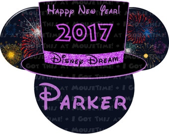 MAGNET New Year's Eve Top Hat with Fireworks Ears - Pink or Purple! - Mouse Ears Stateroom Door Magnet