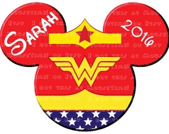 IRON-ON Wonder Woman Ears! - Mouse Ears Tshirt Transfer
