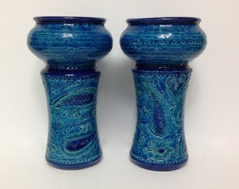 Vintage Bitossi Candle Holders Rimini Blue Rosenthal Netter Made in Italy