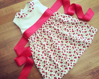 MADE TO FIT dress in ivory white and red summer strawberry fabric with red satin bow and Peter Pan collar