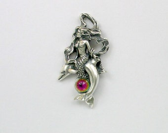 925 Sterling Silver Mermaid & Dolphin  Pendant, Crystal Accent - pend03