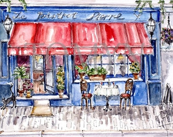 BISTROT  PIERRE. French Restaurant. French bistrot Art. Watercolor Art. Original watercolor painting.