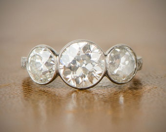 Three Stone Bezel Set Diamond Ring - Estate Diamond Jewelry Collection