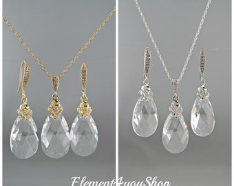 Swarovski Jewelry Set Teardrop Necklace & Earrings Set Swarovski Clear Crystal Bridesmaid Jewelry CZ Jewelry Swarovski Jewellery set