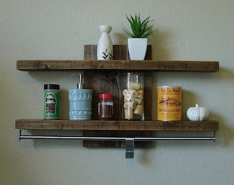"Modern Rustic 2-Tier Spice Rack Shelf w/ 30"" Pot Rack Bar & 7 Hanging Hooks"