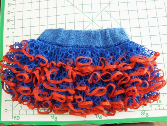 Baby or toddler ruffled skirt. Blue & orange....Show your team spirit!