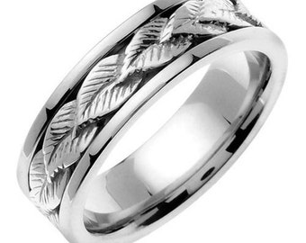 White Gold Leaf Design Wedding Ring