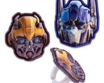 12 TransformerCupcake / Cake Topper Rings Birthday party supplies decorations movie Optimus Prime Bumble Bee