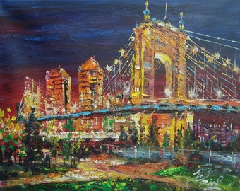 Cincinnati Roebling Suspension Bridge at night, OHIO-PEN KING-A917