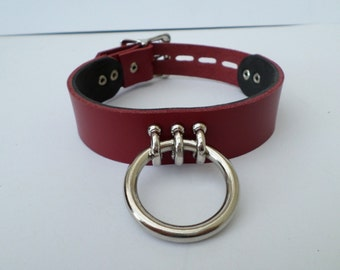 real 30mm wideleather lockable bondage fetish slave bdsm collar 35mm ring with padlock buckle
