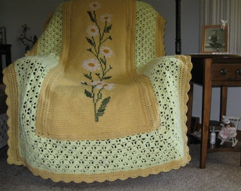 "HANDMADE CROCHETED AFGHAN - ""Daisy Chain"" - Hand Embroidered - Gold and Yellows"