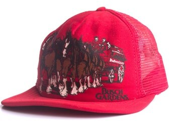 Vintage Busch Gardens Clydesdale Red Snap Back Hat