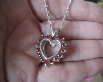 Sterling Silver Valentines Day Red Garnet Heart Pendant Necklace (773)