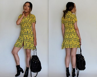 Vintage 90s Yellow Floral Babydoll Dress Size Small
